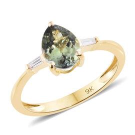 9K Yellow Gold AA Green Tanzanite (Pear 1.05 Ct), Diamond Ring 1.100 Ct.
