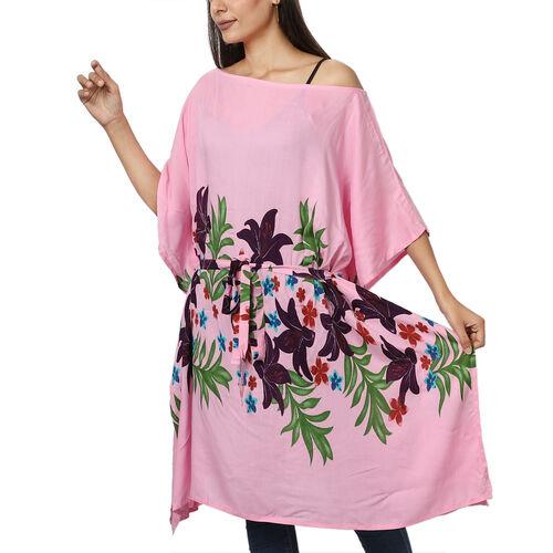 Floral printed Kaftan with Waist Belt (Size S to XXL 91x105cm)  - Lavender