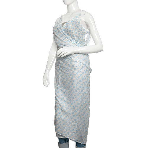 Light Blue, Black and White Colour Paisley Pattern Sarong (Free Size)