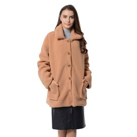 New Season Designer Inspired Teddy Faux Fur Coat in Camel Colour