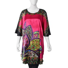Dark Pink and Multi Colour Apparel with Lotus Flower Pattern (Size 75X90 Cm)