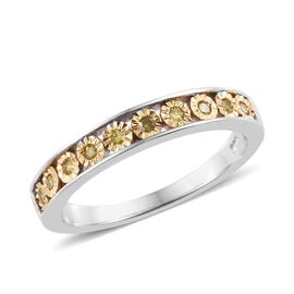 Canary Diamond (Rnd) Ring in Platinum Overlay with Yellow Plating Sterling Silver
