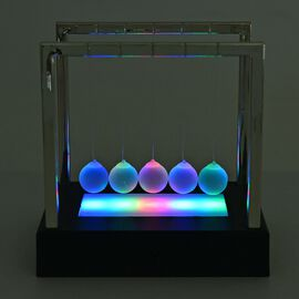 LED Changing Light Glass Ball Newtons Cradle (Size 15x11.2 Cm) Colour Black and Silver