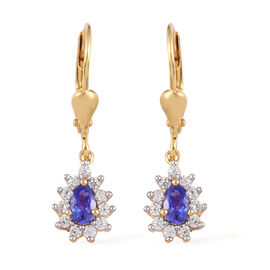 AAA Tanzanite and Natural Cambodian Zircon Lever Back Earrings in 14K Gold Overlay Sterling Silver 1