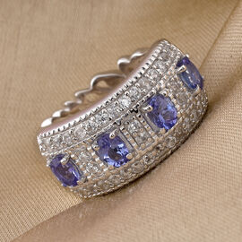 GP Premium Tanzanite and Natural Cambodian Zircon and Blue Sapphire Ring in Platinum Overlay Sterling Silver 1.34 Ct.
