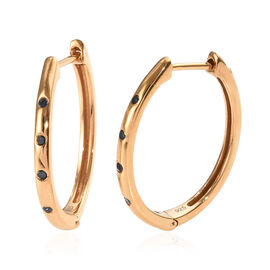 Blue Diamond (Rnd) Hoop Earrings (with Clasp) in 14K Gold Overlay Sterling Silver 0.100 Ct.