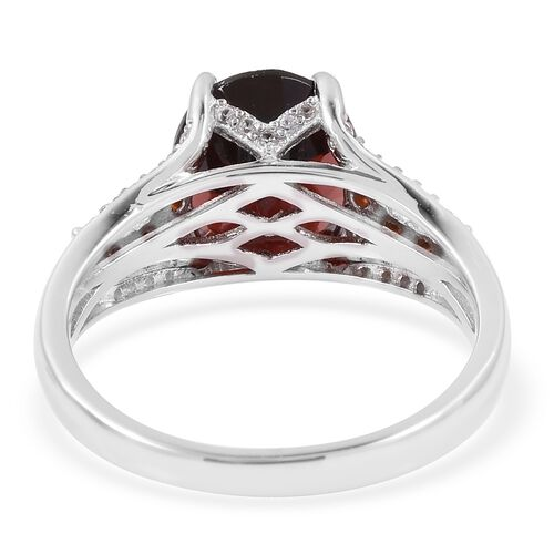 Extremely Rare Size - Mozambique Garnet (Ovl 11X9 mm 4.50 Ct), Natural Cambodian Zircon Ring in Rhodium Overlay Sterling Silver 5.250 Ct.