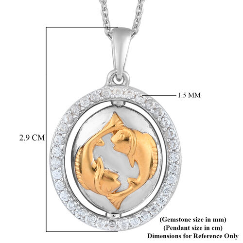 Natural Cambodian Zircon Zodiac-Pisces Pendant with Chain (Size 20) in Yellow Gold and Platinum Overlay Sterling Silver, Silver wt. 7.40 Gms