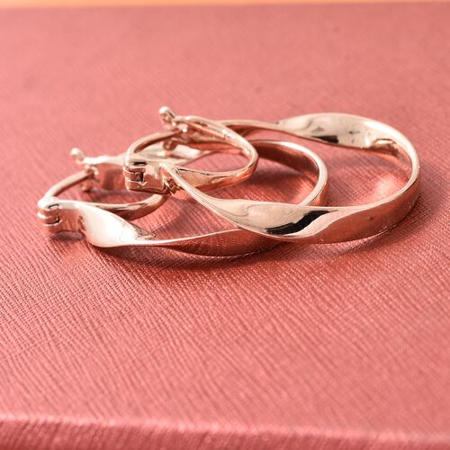 Thai Collection - Rose Gold Overlay Sterling Silver Oval Hoop Earrings (with Clasp), Silver wt 4.59 Gms.