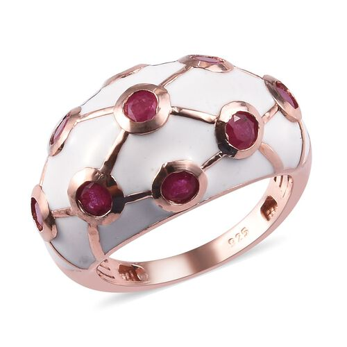 1.50 Ct African Ruby Enamelled Dome Ring in Rose Gold Plated Sterling Silver