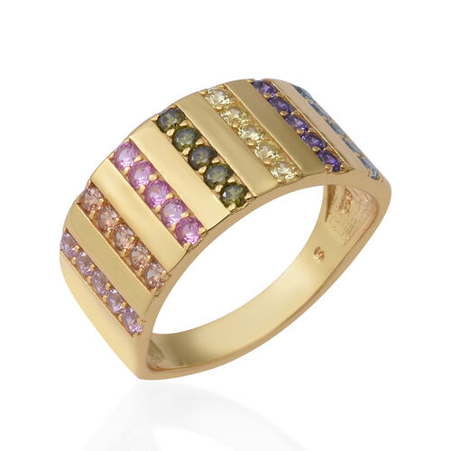 ELANZA Simulated Rainbow Sapphire Ring in Yellow Gold Overlay Sterling Silver 2.50 Ct.