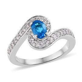 0.92 Ct Neon Apatite and Cambodian Zircon Solitaire Style Ring in Platinum Plated Sterling Silver