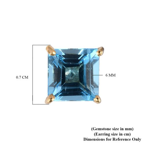 Blue Topaz Solitaire Stud Push Post Earring in 14K Gold Overlay Sterling Silver 2.07 ct  2.074  Ct.