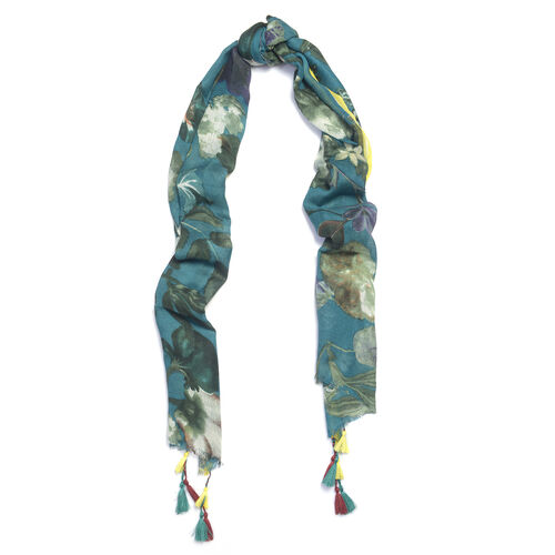 WOOL Blend Digital Floral Pattern Blue Shawl with handmade Tassle