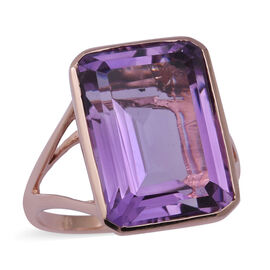 Cocktail Collection-Rose De France Amethyst  Ring in Rose Gold Overlay Sterling Silver 15.67 Ct.