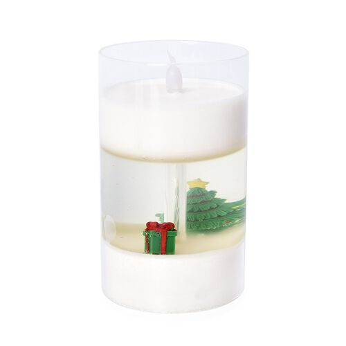 Flameless Glass Cup Candle Displayed Christmas Tree and Present - White, Green and Red (3xAAA Batter