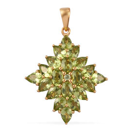 5.65 Ct Hebei Peridot Cluster Pendant in Gold Plated Sterling Silver