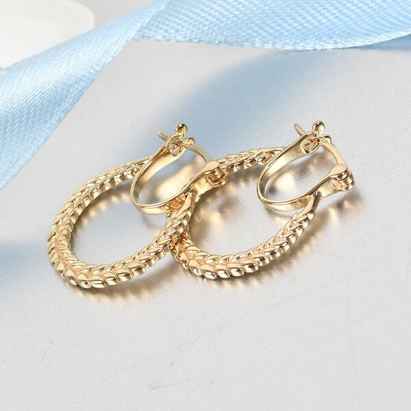MP 14K Gold Overlay Sterling Silver Olive Leaf Hoop Earrings (with Clasp)