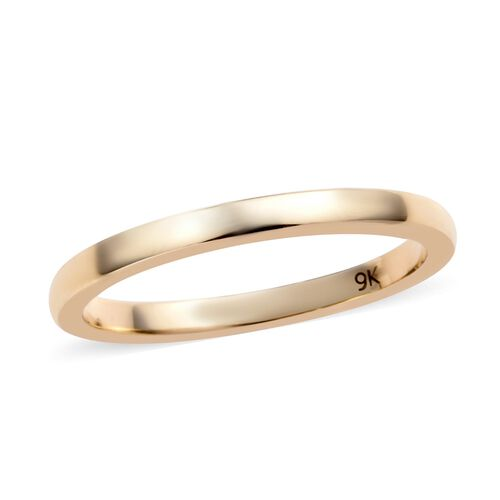2mm Plain Wedding Band Ring in 9K Gold 1.52 grams
