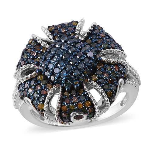 1 Carat Blue and Multi Colour Diamond Cluster Ring in Platinum Plated Sterling Silver 6.4 Grams