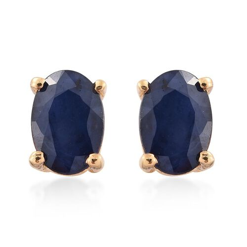 Kanchanaburi Blue Sapphire 1 Carat Silver Solitaire Stud Earrings  in Gold Overlay (with Push Back)