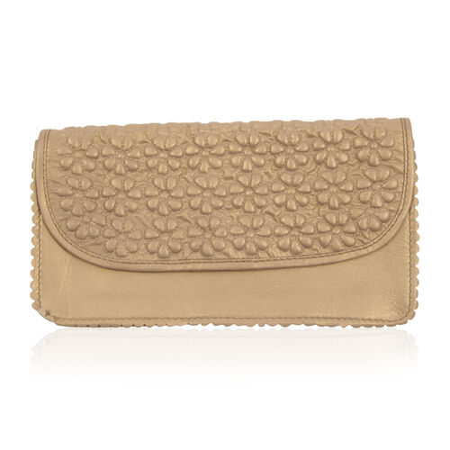 Genuine Leather Flowers Embossed Golden Colour Sling Bag with Chain Strap (Size 27x13x4 Cm)
