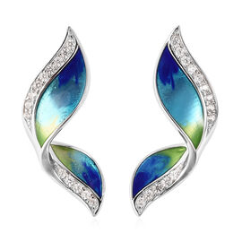 GP - Natural Cambodian Zircon and Blue Sapphire Enamelled Butterfly Wing Stud Earrings (with Push Ba