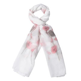 White Colour Flower Pattern Scarf (Size 180x70 Cm)