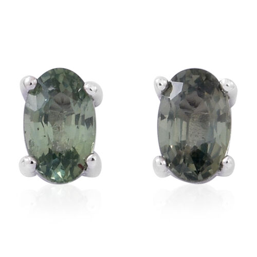 One Time Deal Set of 3 - Songea Green Sapphire (Ovl), Madagascar Orange Sapphire and Chanthaburi Yellow Sapphire Stud Earrings (with Push Back) in Rhodium Plated Sterling Silver 2.000 Ct.