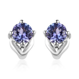 Tanzanite (Rnd) Stud Earrings (with Push Back) in Platinum Overlay Sterling Silver 1.00 Ct.