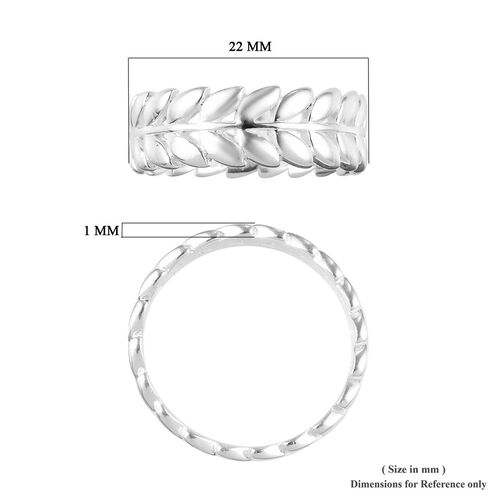 Designer Inspired- Sterling Silver Leaf Band Ring, Silver wt 3.41 Gms