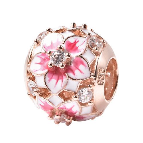 Charmes De Memoire - Simulated Diamond Enamelled Floral Ball Charm in Sterling Silver