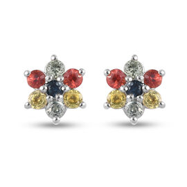 Rainbow Sapphire Floral Stud Earrings (with Push Back) in Platinum Overlay Sterling Silver 0.87 ct