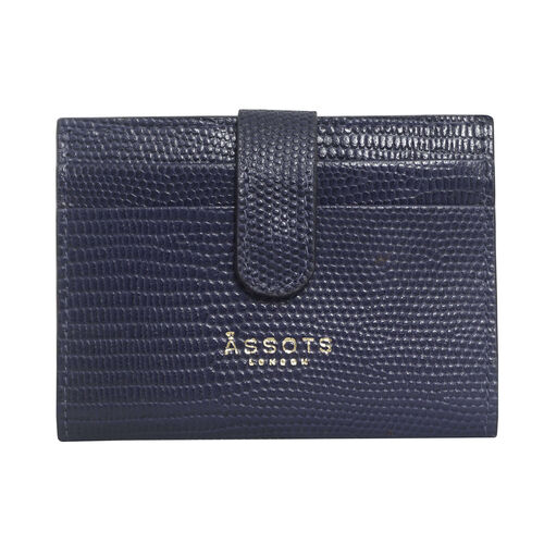 Assots London Grove Lizard Skin Texture 100% Genuine Leather RFID Cardholder (Size 8x10cm) - Navy