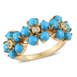 SLEEPING BEAUTY TURQUOISE (1.95 Ct),Cambodian Zircon 14K Gold Overlay Sterling Silver Ring  2.000  Ct.