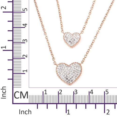 White Austrian Crystal (Rnd) Heart Necklace (Size 18) in Rose Gold Plated Stainless Steel