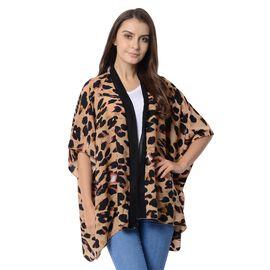 Designer Inspired-Brown and Black Colour Leopard Pattern Kimono (Size 95x70 Cm)
