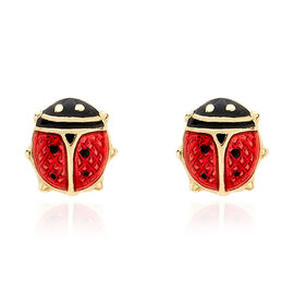 9K Yellow Gold Enamelling Lady Bird Earrings (with Push Back) with Enamel