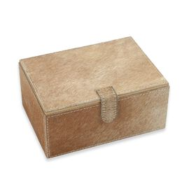 2-Tier Camel Hide Natural Leather Jewellery Storage Box with Magnetic Flap (Size 18x13x9 Cm)