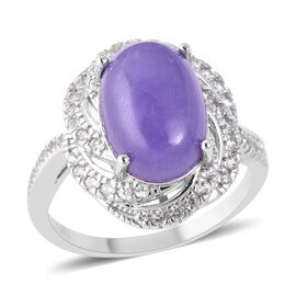 7.76 Ct Purple Jade and Natural White Cambodian Zircon Halo Design Ring in Rhodium Plated Silver