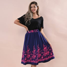 JOVIE Miss Collection 100%Viscose Embroidered Elastic Band Skirt Adorned with Floral Embroidery Blue & Pink
