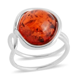 Baltic Amber Adjustable Solitaire Ring in Sterling Silver