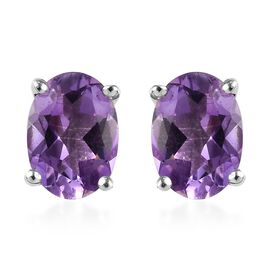 Moroccan Amethyst (Ovl 7x5 mm) Stud Earrings (with Push Back) in Platinum Overlay Sterling Silver 1.500 Ct.