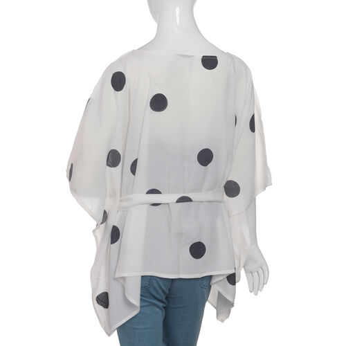 Designer Inspired- Limited Available- 100% Modal - White and Black Colour Dots Pattern Top/Kaftan (Size 65 Cm)