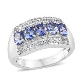 Tanzanite (Ovl), Natural Cambodian Zircon Ring in Platinum Overlay Sterling Silver 2.250 Ct. Silver wt 5.24 Gms.