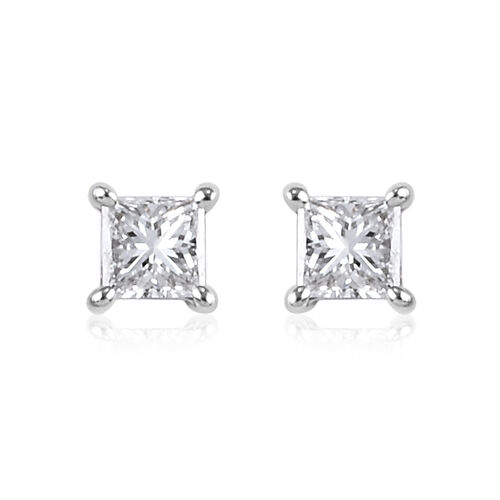 RHAPSODY 0.20 Ct Diamond Princess Cut Solitaire Stud Earrings in 950 Platinum IGI Certified VS EF
