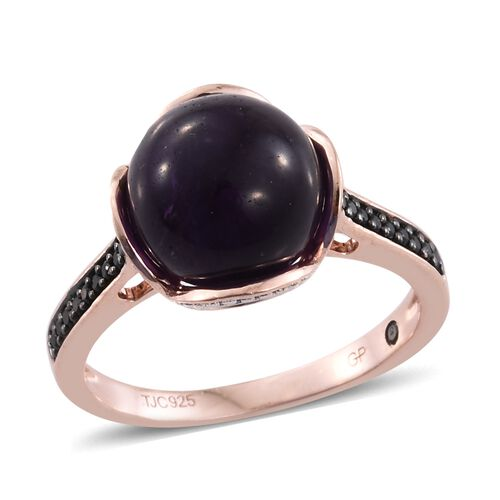 GP Amethyst (Rnd 7.60 Ct), Boi Ploi Black Spinel and Blue Sapphire Ring in Rose Gold Overlay Sterlin