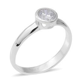 ELANZA Simulated Diamond (Rnd) Soliatire Ring in Sterling Silver