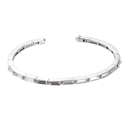 J Francis Crystal from Swarovski White Colour Crystal Cuff Bangle (Size 7.5) in Platinum Plated