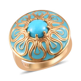 1.15 Ct Arizona Sleeping Beauty Turquoise Enamelled Floral Ring in Gold Plated Silver